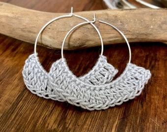 Gray Crochet Hoop Earrings