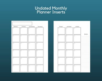 Filofax Inserts, Planner Inserts, Undated, Monthly Planner, Planner Refills, A5, Printable Planner, Digital Download