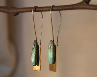 Turquoise and brass drop earrings