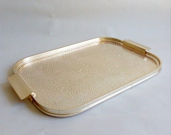 Vintage Gold Metal Serving Tray. Textured Golden Serving Tray. Serving Tray With Handles.