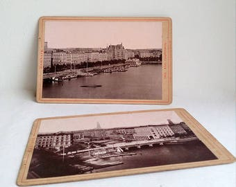 Set of Two Very Old Panoramic Photographs of the City of Hamburg from the Late 19th Century.