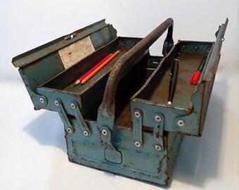 Vintage Blue Metal Toolbox. Industrial Metal Storage Box. Industrial Style.