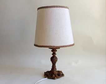 Vintage Table / Desk Lamp In Gold Metal With Fabric Lampshade. Vintage  Classic Desk / Table Lamp. Decorative Lamp.