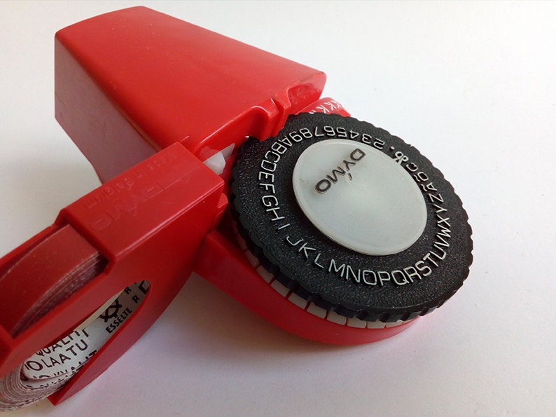 Vintage Red Dymo Labeling Machine for the 1960s  Vintage Dymo Label Maker   Collectible Print Machine