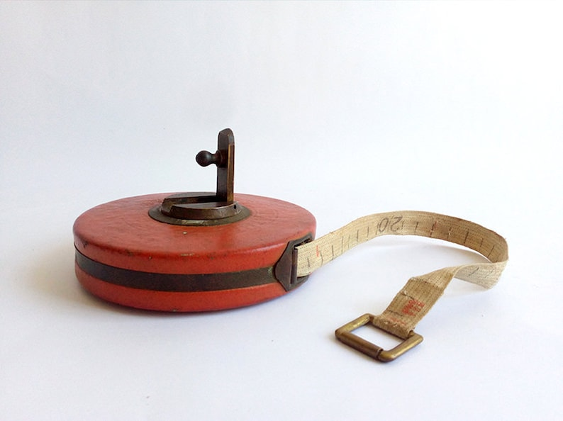 Collectible Tool. Vintage Measuring Tool Vintage Round Red Tape Measure
