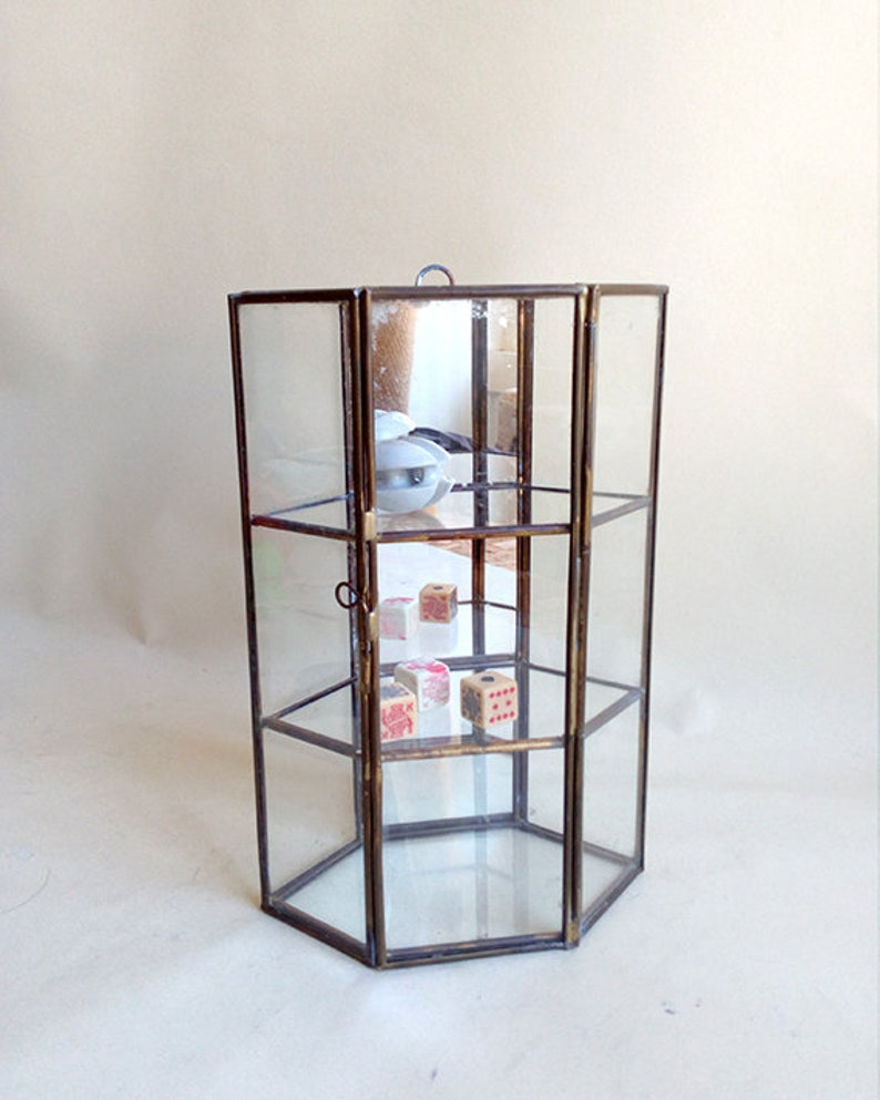 Vintage Curiosity Small Cabinet. Small Wall Cabinet. Glass, Brass Cabinet  And Mirror In The Back. Small Display Cabinet.