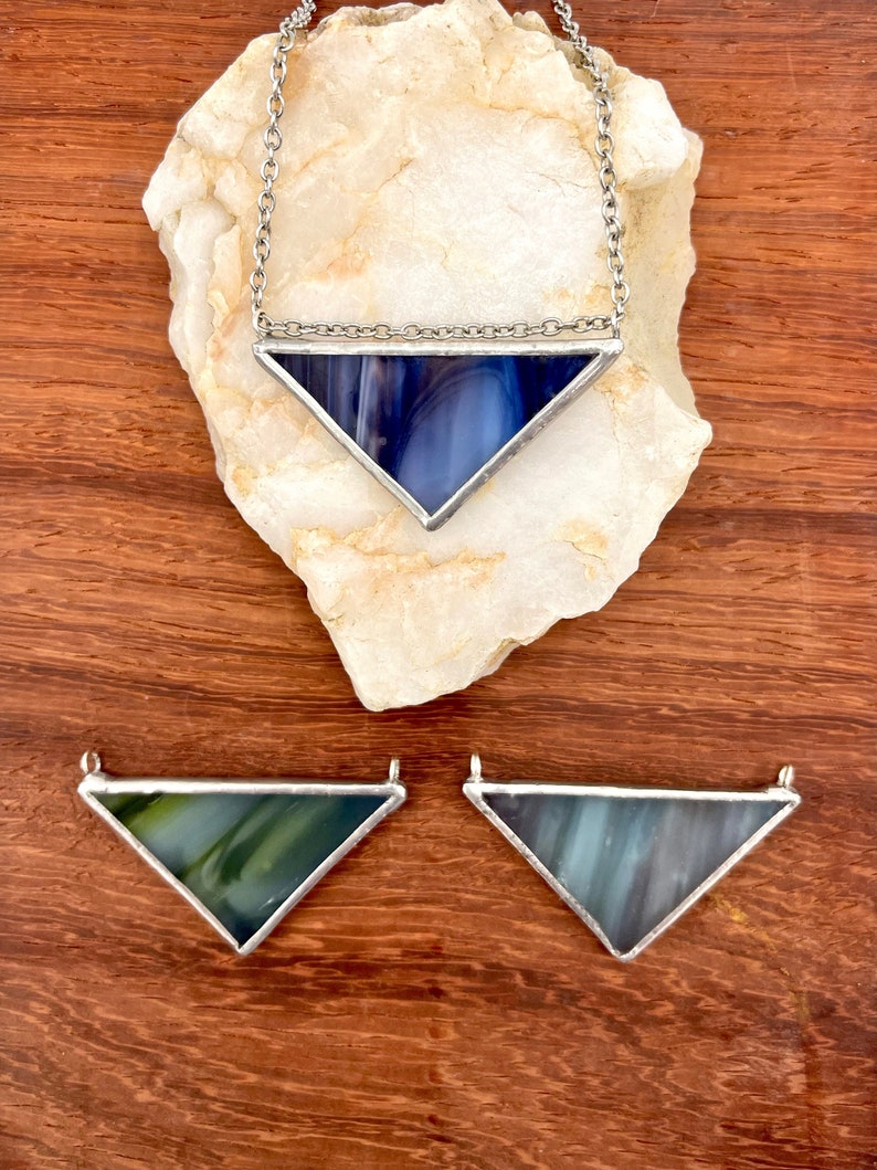 Custom Cool Tones Stained Glass Triangle Necklace with Nickel Chain and Lobster Clasp