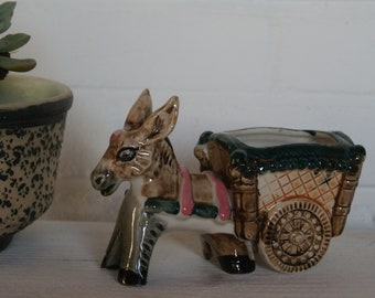 Donkey and cart planter mid century mini ceramic planter vintage retro kitsch figurine