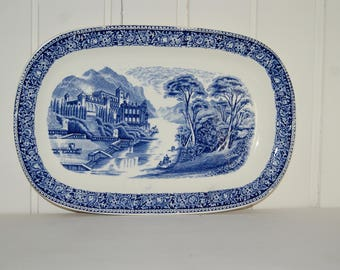 Cambridge Old England Royal Sphinx Maastricht Petrus Regout Holland Antique blue and white serving platter