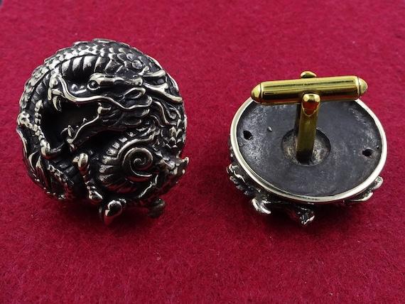 fantasy silver gothic dragon cufflinks