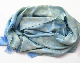 Women's Silk Scarf Soft Blue Fashion Shawl Birthday Gift Wrap