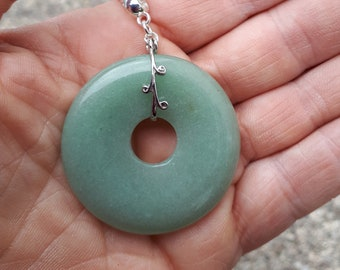 Green Aventurine Donut Pendant, Gemstone Necklace, Big Pendant, Statement Jewellery, Boho Festival Jewelry,