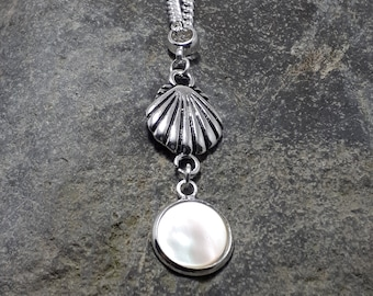 Mother of Pearl Pendant, Silver Shell, Tiny Pendant, Gemstone Pendant, Matching Earrings, Matching Bracelet, Part of a Set,