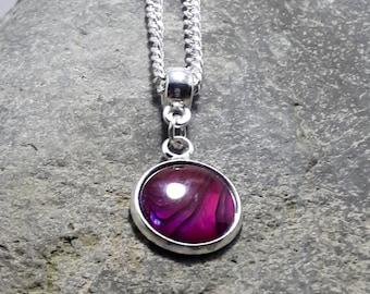 Hot Pink Abalone Pendant, Tiny Pendant, Gemstone Pendant, Silver Chain, Matching Earrings, Matching Bracelet, Part of a Set,