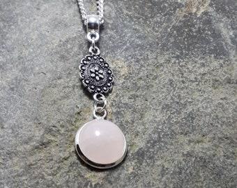 Rose Quartz Pendant, Tiny Pendant, Silver Flower, Gemstone Pendant, Matching Earrings, Matching Bracelet, Part of a Set,
