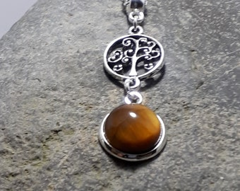 Tiger's Eye Pendant, Tiny Pendant, Gemstone Pendant, Silver Tree of Life, Silver Chain, Matching Earrings, Matching Bracelet, Part of a Set,