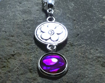 Hot Pink Abalone Pendant, Tiny Pendant, Gemstone Pendant, Silver Flower, Silver Chain, Matching Earrings, Matching Bracelet, Part of a Set,