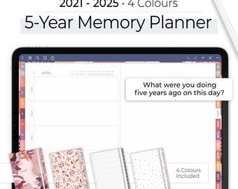 Memory Planner, 5-Years Planner, Digital Memory Planner, Digital Memory Keeper, 2021 to 2025, 12 Tabs in 4 Colours