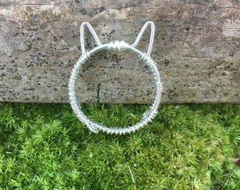 Silver cat ring, kitty ring, cat ears ring, animal jewelry, cat lovers jewelry, sterling silver, gift for her