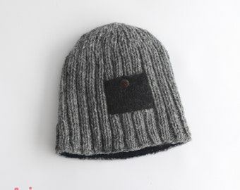83f9a589fa7 Woolen Hat Beanie Winter wool hat for Women Ladies Man Men Girls Hand  Knitted with Pattern - Gift for him   Gift for her - 100% pure Wool