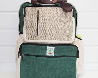 Green Laptop Hemp Organic Eco Friendly Bag With Handle Unisex Design