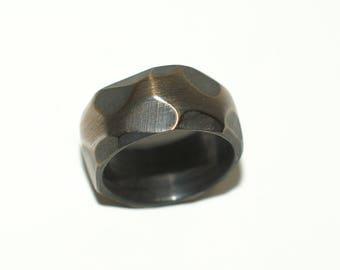 Steel Burned Obsidian Finish Ring