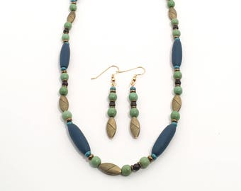 Porcelain and Brass Necklace in Dark Teal and Moss Green, Limited Edition