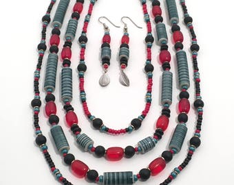 Porcelain Teal Incised Tubes Necklace with Silver and Red Antique Glass, Limited Edition