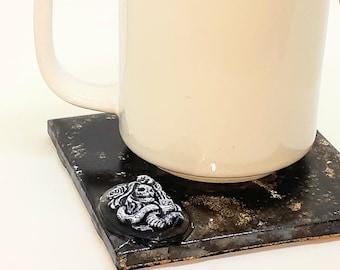 3D Skull Designs Drink Coasters Ceramic - Set of 4 ... 4 different 3D Skull Designs - Cork Backing 4x4 inch