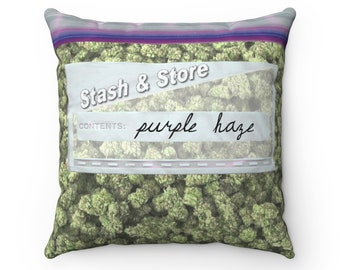 Baggie Of Cannabis Weed Design Spun Polyester Square Pillow CASE ONLY