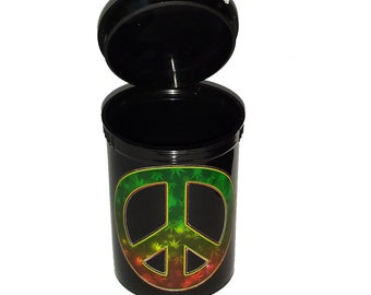 Beads, Tobacco, Trinkets, Herb Stash Container - Food Safe Plastic with attached squeeze top, Leaf design Peace sign