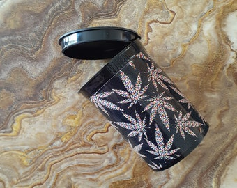 Beads, Tobacco, Trinkets, Herb Stash Container - Food Safe Plastic with attached squeeze top, Leaf design