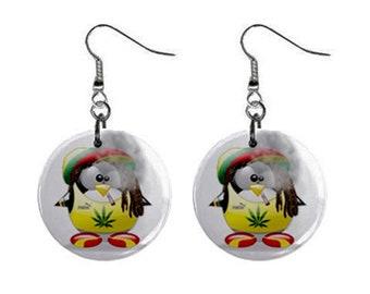 Cartoon Weed Cannabis Rasta Dangle Earrings Tie Dye 420 Festival 1 inch Button Style Jewelry