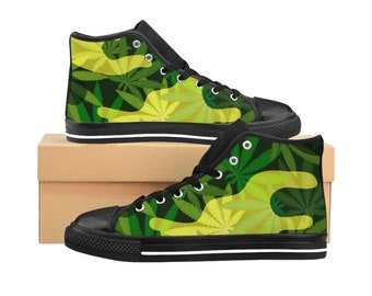 Weed Marijuana Cannabis Printed Design Womens HighTop Sneakers Tennis Shoes