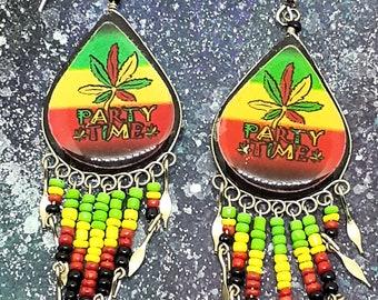 Party Time 420 Marijuana Leaf Weed Pot Design Dangle Earrings Jewelry Teardrop