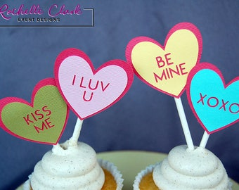 Conversation Hearts Cupcake Toppers - 12 Count