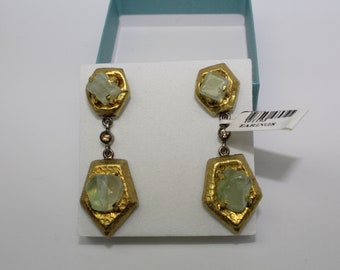 Vintage sterling silver and 22 kt gold  earrings with green emerald stones