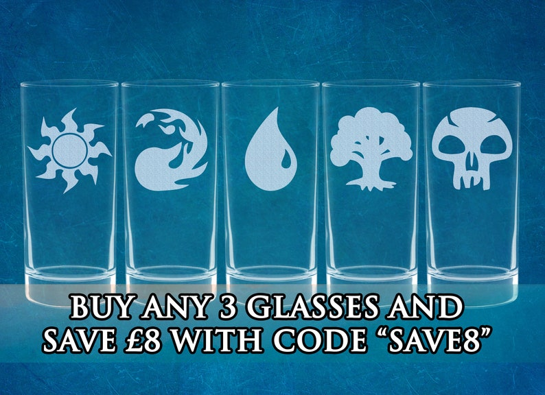 Magic: The Gathering Mana Inspired Etched Highball Glasses image 0