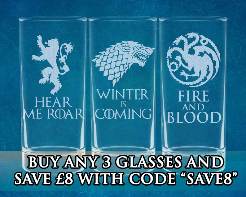 Game of Thrones Inspired Etched Highball Glasses