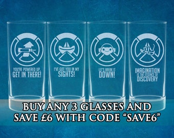 Overwatch Ultimate Logo Inspired Etched Glasses - ALL Characters Available