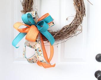 Rustic Fall Wreath Bow, Fall Bow for Wreath, Wheelbarrow Decor, Turquoise Ribbon