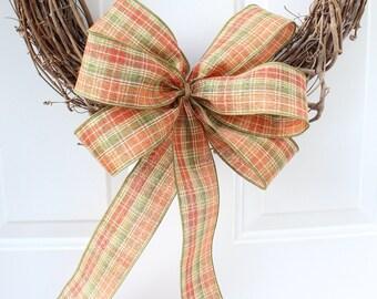 Rustic Fall Wreath Bow, Fall Bow for Wreath, Autumn Bow