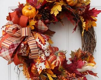 Fall Leaves Pumpkin Grapevine Wreath for Front Door, Pumpkin Wreath, Harvest Decor, Thanksgiving Wreath, Rustic Pumpkin Decor