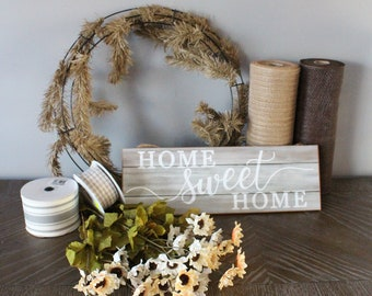 DIY Wreath Kit, Farmhouse Welcome Wreath Tutorial, How to Make Home Sweet Home Wreath, Farmhouse Wreath Inside, Neutral Wreath
