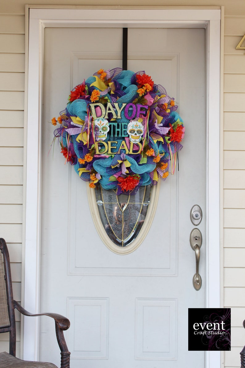 Day Of The Death Day Of The Dead Wreath Dia De Muertos Dia Etsy