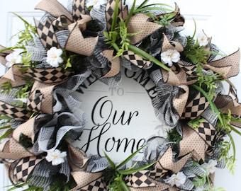 Farmhouse Buffalo Check Wreath for Front Door, Everyday Country Decor