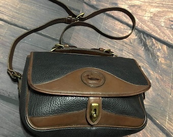 Dooney Bourke Brown & Black Pebbled Leather Messenger Style Handbag All Weather Leather  Vintage
