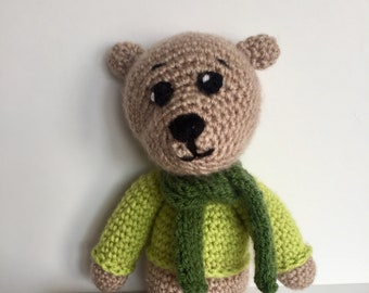 Emilio Amigurumi bear with green sweater/Amigurumi Animal/Crochet Bear/Amigurumi Doll/Crochet Doll
