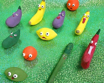 Made to Order Handmade Tiny Set of Three Ceramic Fruits or Vegetables Googly Eyes Tongue Veggie Kawaii Cute Emoji