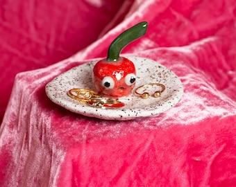 Made to Order Handmade Ceramic Cherry Ring Dish Trinket Googly Eyes Fruit Veggie Fruits Vegetable Kawaii Cute Emoji
